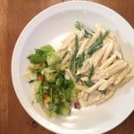 penne with asparagus in a lemon parmesan cheese sauce