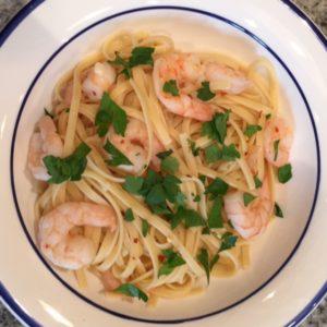 shrimp scampi over linguini