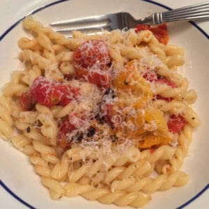 pasta with a roasted grape tomato sauce