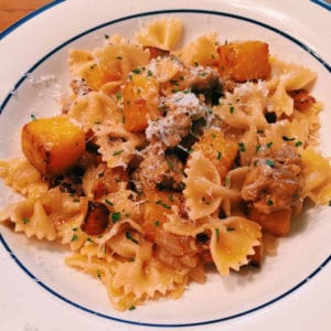 farfalle with sausage and butternut squash