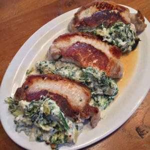 spinach and artichoke stuffed pork chops