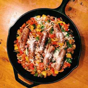 spicy sausages with three peppers