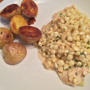 chicken with fresh corn and shallots in a dijon cream sauce