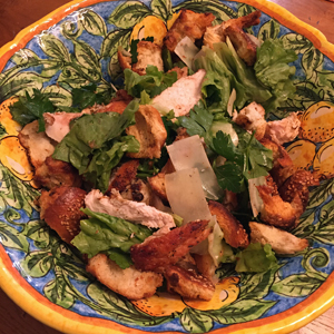 chicken and escarole salad with anchovy croutons