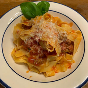 pappardelle with hot sausage sauce